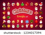 christmas emoji set on red... | Shutterstock .eps vector #1234017394