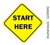 yellow diamond begin here sign...   Shutterstock . vector #1234042