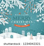 merry christmas paper cut...   Shutterstock .eps vector #1234042321