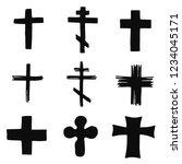crosses church silhouettes set... | Shutterstock .eps vector #1234045171
