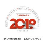 happy new year 2019 january... | Shutterstock .eps vector #1234047937