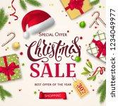 vector christmas sale banner... | Shutterstock .eps vector #1234049977
