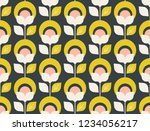 seamless retro pattern with... | Shutterstock .eps vector #1234056217