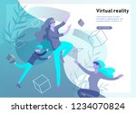man and woman wearing virtual... | Shutterstock .eps vector #1234070824