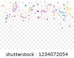 colorful confetti and ribbon... | Shutterstock .eps vector #1234072054