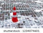 striped plastic orange parking... | Shutterstock . vector #1234074601
