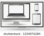 realistic computer  laptop ... | Shutterstock .eps vector #1234076284