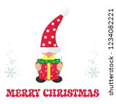 cartoon christmas gnome with... | Shutterstock .eps vector #1234082221