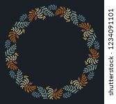 christmas wreath with round... | Shutterstock .eps vector #1234091101