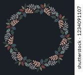 christmas wreath with round... | Shutterstock .eps vector #1234091107