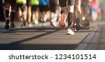 marathon running in the light...   Shutterstock . vector #1234101514