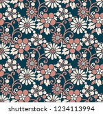seamless textile flower pattern   Shutterstock .eps vector #1234113994