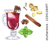 mulled wine glass with herbs... | Shutterstock . vector #1234118497