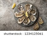 opened fresh raw oysters on... | Shutterstock . vector #1234125061