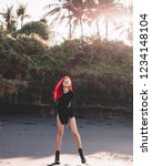 rock star girl with red hair...   Shutterstock . vector #1234148104