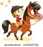 child riding small horse  image ...
