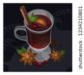 mulled wine in the glass vector ... | Shutterstock .eps vector #1234210801