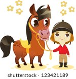 child stand with small horse ... | Shutterstock .eps vector #123421189