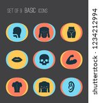 physique icons set with butt ... | Shutterstock .eps vector #1234212994