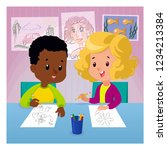 children draw at the table with ... | Shutterstock .eps vector #1234213384