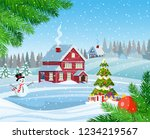 christmas landscape with... | Shutterstock .eps vector #1234219567