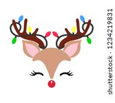 Stock vector cute christmas red nose reindeer face vector funny cartoon deer with decorative lights vector 1234219831
