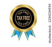 gold button with tax free text... | Shutterstock .eps vector #1234234954