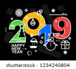 2019 happy new year trendy and...   Shutterstock . vector #1234240804