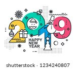 2019 happy new year trendy and... | Shutterstock . vector #1234240807