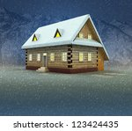mountain cottage and window... | Shutterstock . vector #123424435