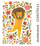 emotional lion painted in... | Shutterstock . vector #1234270111