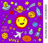 stars and planets. doodle set. | Shutterstock .eps vector #123428005