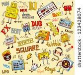 electronic music. doodle set | Shutterstock .eps vector #123428074