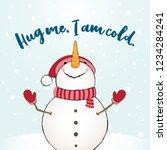 hug me  i am cold   funny... | Shutterstock .eps vector #1234284241