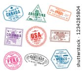set of travel visa stamps for... | Shutterstock .eps vector #1234285804