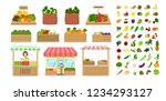 set of fruits and vegetables.... | Shutterstock .eps vector #1234293127