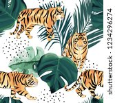 jungle exotic seamless pattern. ... | Shutterstock .eps vector #1234296274