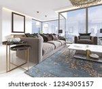 luxury living room studio with... | Shutterstock . vector #1234305157