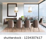 modern dining room with hanging ... | Shutterstock . vector #1234307617