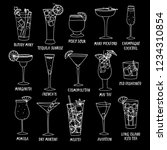 set of doodle cocktails on... | Shutterstock .eps vector #1234310854