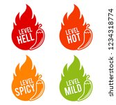 chili peppers scale mild  spicy ... | Shutterstock .eps vector #1234318774