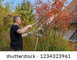 man working in garden with a... | Shutterstock . vector #1234323961