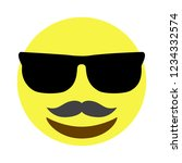 mustache smiley face with...