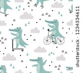 seamless pattern with cute... | Shutterstock .eps vector #1234334611