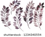 watercolor floral elements on a ... | Shutterstock . vector #1234340554