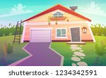 suburban house on green grass... | Shutterstock .eps vector #1234342591