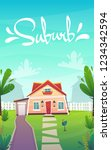 suburban house on green grass... | Shutterstock .eps vector #1234342594