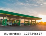 wide view of gas station on... | Shutterstock . vector #1234346617