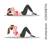 woman doing crunches in the gym....   Shutterstock .eps vector #1234348741