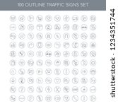 100 traffic signs universal... | Shutterstock .eps vector #1234351744